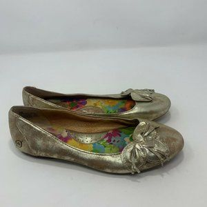 Born Womens Leather Gold Flats Size 7